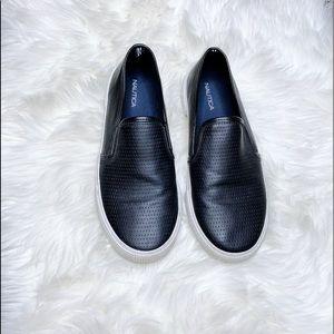 Nautica Fake Black Leather Flat Comfy Shoes
